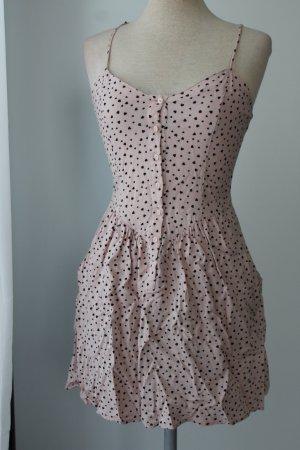 Freizeitkleid Gr. 34 XS Sommerkleid Träger Kleid Minikleid nude schwarz Herzen H&M