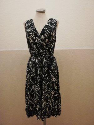Freizeitkleid Kleid grün schwarz Gr. UK 14 40 M L Warehouse Viscose knielang kurz