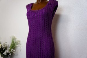 Freizeitkleid Kleid Sommerkleid M Lila 38 NEU Etikett Strickkleid aus Baumwolle