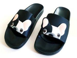 Sandales confort blanc-noir synthétique