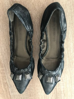 French Connection Ballerinas with Toecap black-silver-colored