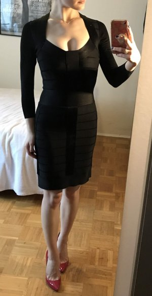 French Connection Bandage Kleid Gr. 34 XS schwarz FCUK Bodycon 3/4 Ärmel