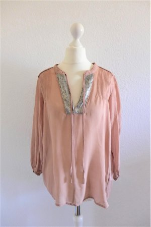 French Connection Bluse Oberteil Shirt Tunika Seide nude rose altrosa silber Pailletten Gr. 34/36 XS S