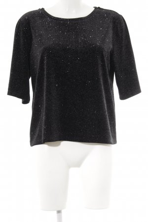 French Connection Cropped Shirt schwarz-silberfarben Punktemuster Glitzer-Optik