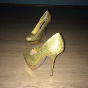 French Connection Designer Luxus Pumps High Heels Gold Glitzer Gr. 37