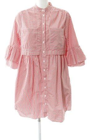 French Connection Robe chemise rouge carmin-blanc cassé motif rayé élégant