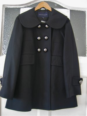 French Connection Kitty Coat Peacoat Mantel schwarz Sixties