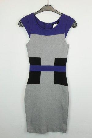French Connection Kleid Cocktailkleid Schlauchkleid Gr. UK 8 / dt 36 blau grau schwarz kurzarm