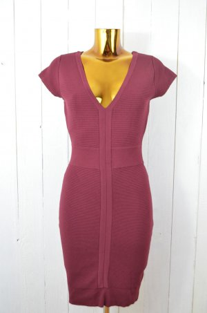 French Connection Kleid Cocktailkleid Stretch Rippe Bordeaux Rot Gr. 36
