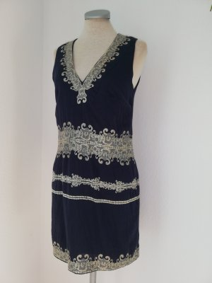 French Connection Kleid kurz mini blau Stickerei Silber Gr. UK 8 EUR 36 S Baumwolle Etuikleid orientalisch