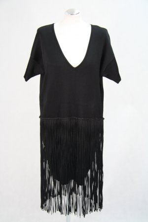 French Connection Fringed Dress black viscose
