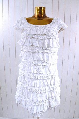 French Connection Kleid Sommerkleid Rüschen Volants Weiß Baumwolle Lagen Gr.14/L