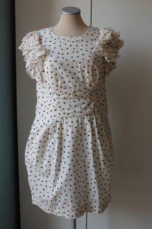 French Connection kurzarm Kleid Gr. UK 16 EUR 44 Vögel weiß schwarz Rockabilly