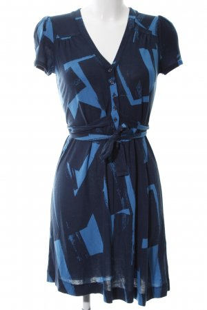 French Connection Kurzarmkleid schwarz-blau abstraktes Muster Business-Look