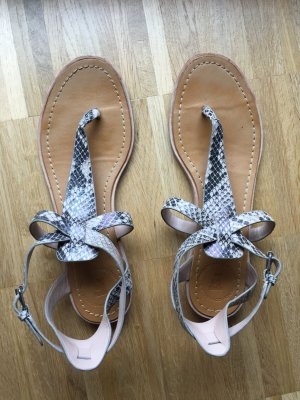 French Connection Sandalen 38 Nude flach schlangenmuster snakeskin Leder Echtleder