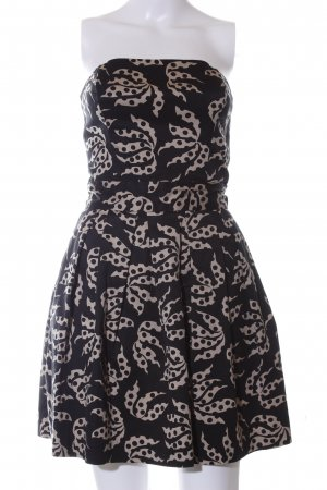 French Connection schulterfreies Kleid schwarz-wollweiß abstraktes Muster