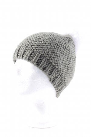 French Connection Knitted Hat olive green-natural white bobble elements
