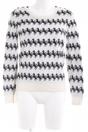 French Connection Strickpullover schwarz-wollweiß grafisches Muster Casual-Look