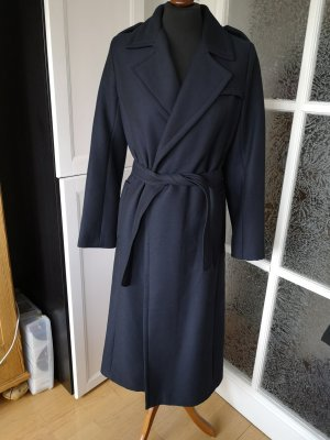 French Connection Trenchcoat Wollmantel lang dunkelblau navy