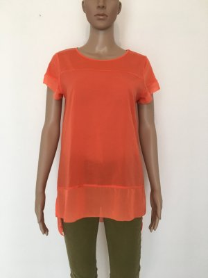 French Connection UK s small Shirt Top Bluse Tunika lang Long coral Koralle rot halbarm cool knallig Farbe Statement Sommer fein dünn leicht transparent