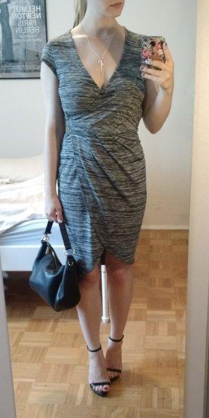 French Connection Wickelkleid Gr 34 XS Kleid grau meliert bodycon blogger wickel