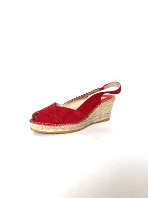 French Style Espadrilles Wildleder Neu! Wedges Sandalen Rot Peeptoes Cosy Street Style