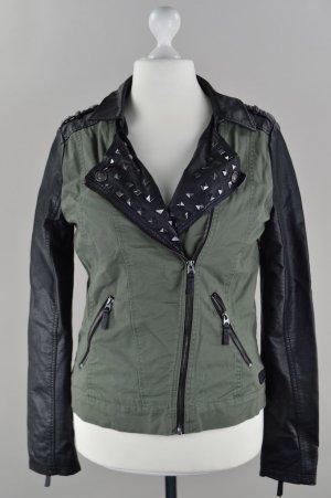 Fresh Made Jacke Lederärmel olivgrün Größe XL