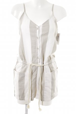 Fresh made Jumpsuit weiß-hellbeige Streifenmuster Casual-Look