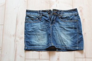 Fresh Mode Jeansrock Minirock Damen Jeansmini Röckchen Sommer Größe S 36