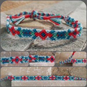 Friendship Bracelet raspberry-red-light blue