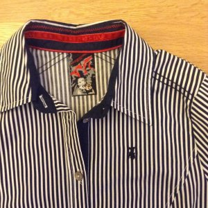Frieda & Freddies Letzter Preis!Hemd Bluse weiß/dunkelblau gestreift Gr. 34 NEU