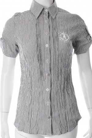 Frieda & Freddies New York Blouse à manches courtes blanc-gris motif rayé
