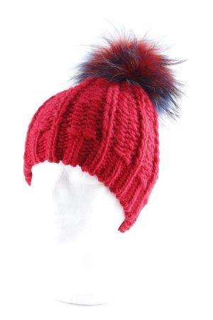 Frieda & Freddies New York Sombrero de punto rojo mullido