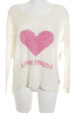 Frieda & Freddies New York Strickpullover creme-pink Herzmuster Romantik-Look
