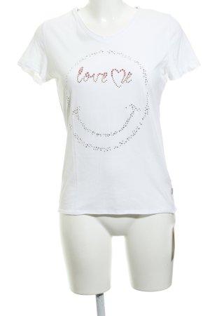 Frieda & Freddies New York T-Shirt wollweiß Schriftzug gedruckt Casual-Look