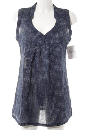 Friendtex ärmellose Bluse weiß-dunkelblau Punktemuster Casual-Look