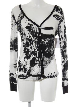 Friendtex Cardigan weiß-schwarz abstraktes Muster Casual-Look