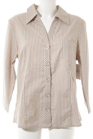 Friendtex Hemd-Bluse creme-blasslila Streifenmuster klassischer Stil
