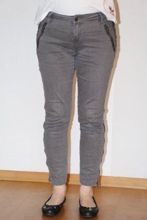 Friendtex Pantalón de tubo gris tejido mezclado