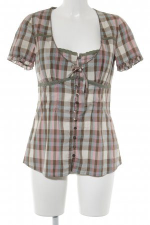 Friendtex Kurzarm-Bluse Karomuster Casual-Look