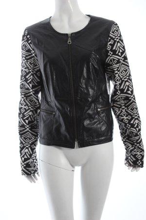 Friendtex Kurzjacke schwarz-weiß Biker-Look