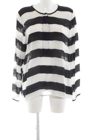 Friendtex Langarm-Bluse weiß-schwarz Streifenmuster Casual-Look