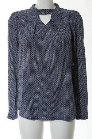 Friendtex Langarm-Bluse blau-weiß Allover-Druck Casual-Look