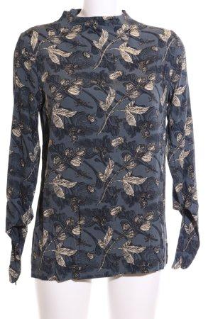 Friendtex Langarm-Bluse blau-wollweiß Blumenmuster Casual-Look