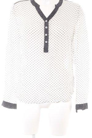 Friendtex Langarm-Bluse weiß-schwarz Ornamentenmuster Casual-Look