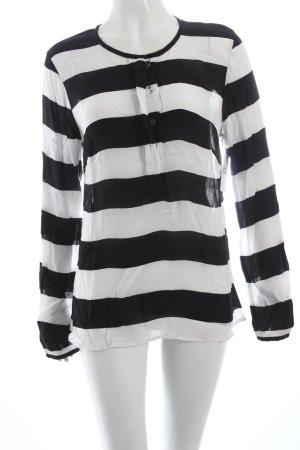 Friendtex Schlupf-Bluse schwarz-weiß Streifenmuster Casual-Look