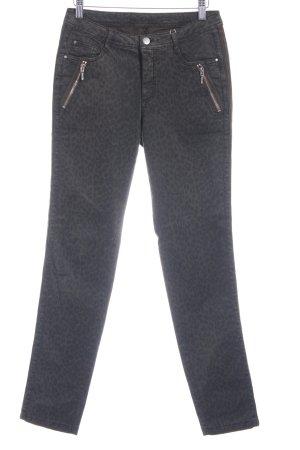 Friendtex Stretch jeans donkergroen-khaki luipaardprint casual uitstraling