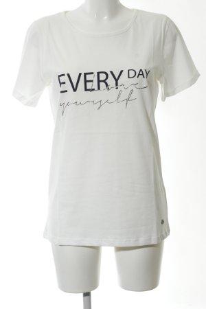Friendtex T-Shirt weiß-schwarz Schriftzug gedruckt Casual-Look