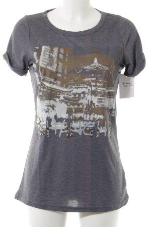 Friendtex T-Shirt graublau-braun platzierter Druck Casual-Look