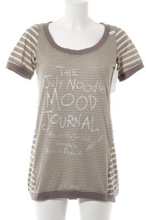 Friendtex T-Shirt hellbeige-hellbraun Schriftzug gedruckt Casual-Look